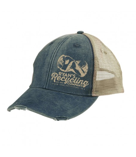RYANS RECYCLING Navy Blue Distressed Trucker hat