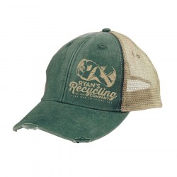 RYANS RECYCLING Forest Green Distressed Trucker hat