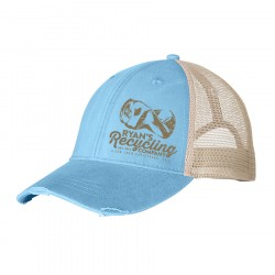 RYANS RECYCLING Baby Blue Distressed Trucker hat